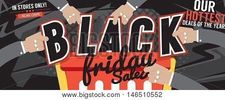 12500x5000 Pixel Colorful Black Friday Sale Marketing Promotion Banner Vector Illustration. EPS 10