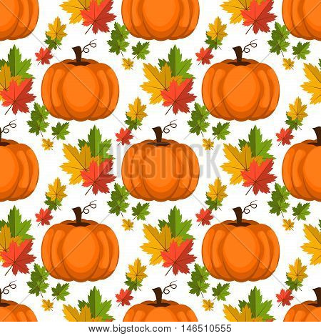 Halloween seamless pattern decoration art thanksgiving plant. Background with pumpkin vector orange october pattern. Autumn holiday season pumpkin pattern harvest thanksgiving plant.
