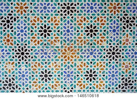 Brightly Color Moorish Style Tiled Wall in the Real alcazar of Seville in Spain, Background