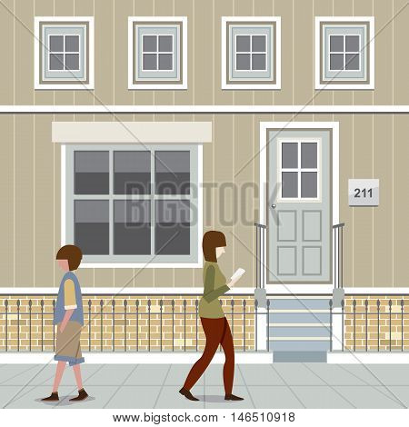 People Walking Down The Street Vector Illustration. EPS 10