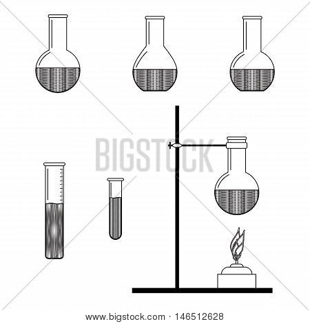 Laboratory testing. Chemical engineering. Abstract chemistry art. Vector illustration.