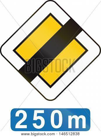 Belgian Regulatory Road Sign - End Of Priority Road In 250 Meters