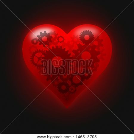 Perfect heart concept, gears pulse inside. Illustration