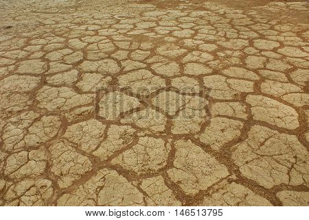 Arid sunbaked soil with amazing pattern in Namib desert