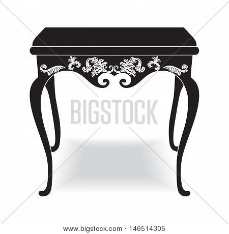 Rich Baroque coffee Table. French Luxury rich carved ornaments furniture. Vector Victorian Royal Style furniture. Black background