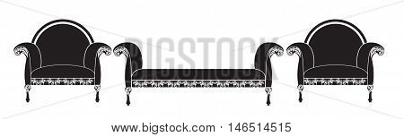 Vintage furniture set Vector. Rich carved ornaments furniture collection. Vector Victorian Style couch. Black color sketch