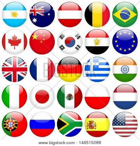 Various Round Flag  in Glossy Buttons, illustration