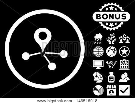 Geo Network icon with bonus. Vector illustration style is flat iconic symbols, white color, black background.