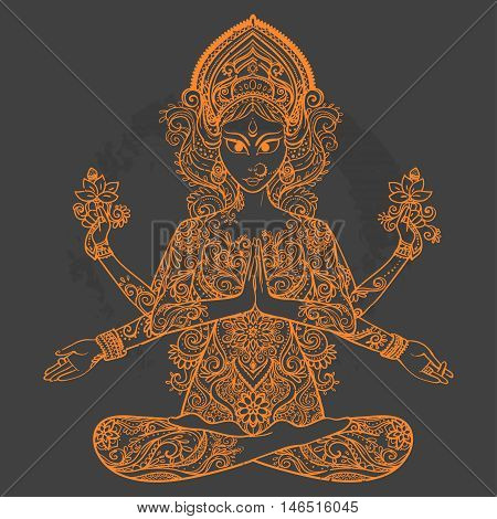 Ornament card with of Maa Durga. Illustration of Happy Navratri. Happy Maha Shivaratri