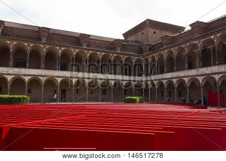 MILAN, ITALY - APRILE 14 2015: Lavatory cloister of Milan Statale University set up during the Milanese design week with an installation of Libeskind architect