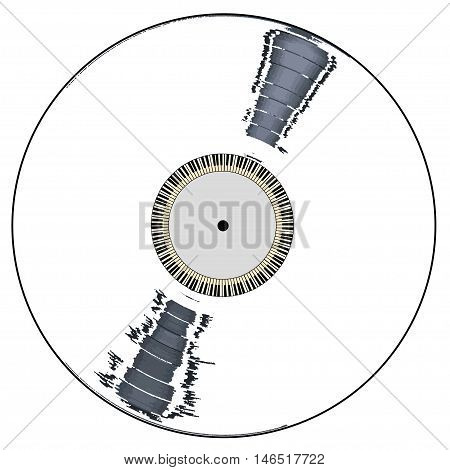 A white background LP vinyl record with piano keys all over a white background.