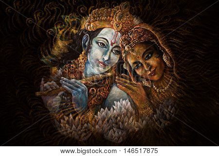 radha and krishna playing flute, hand painted illustration.