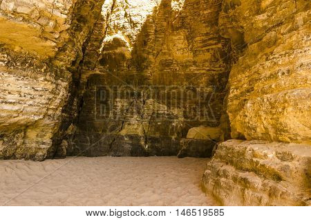 dungeon in the desert with sunlight come from the top
