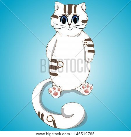 White Cute Cat with Brown Spots, Big Blue Eyes, Lady-Cat, Pussycat, Long Tail