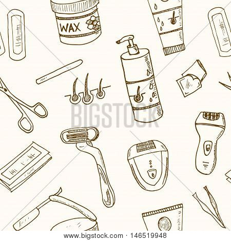 Doodle seamless pattern with hair removal tools Vector illustration
