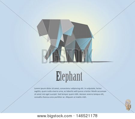 Geometric elephant illustration in polygonal style. Elephant low poly. Animal triangle icon. Modern isolated