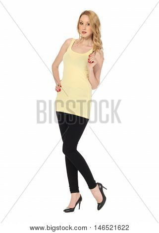 Young Sexy Blond Woman In Yellow Tunic Isolated On White