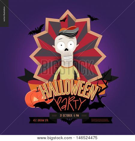 Halloween Party composed sign emblem invitation. Flat vectror cartoon illustrated design of a skeleton in center of striped shield, bats, pumpkin jack-o-lantern, ribbon, lettering