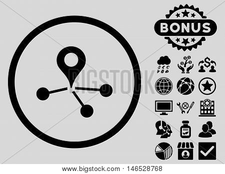 Geo Network icon with bonus. Vector illustration style is flat iconic symbols, black color, light gray background.