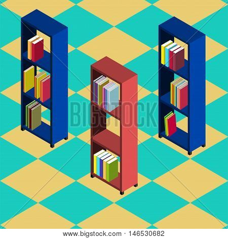 Three bookcases of different color stand on the chess tiles Isometric style