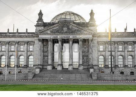 German Bundestag building in Berlin. German parliament at sunrise.