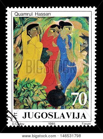 YUGOSLAVIA - CIRCA 1985 : Cancelled postage stamp printed by Yugoslavia, that shows painting by Quamrul Hassan.