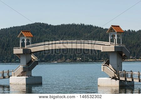 World's longest floating boardwalk with bridge by resort in Coeur d'Alene, Idaho