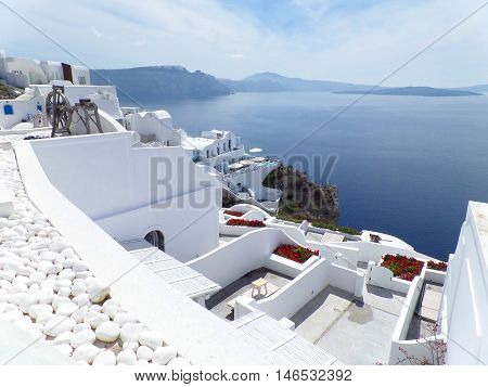 White Oia Village and Blue Aegean Sea, Santorini Island, Greece