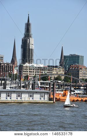 HAMBURG, GERMANY - AUG 27: View of Hamburg from a cruise around the port, as seen on Aug 27, 2016. Hamburg is the second largest city in Germany and the eighth largest city in the European Union.