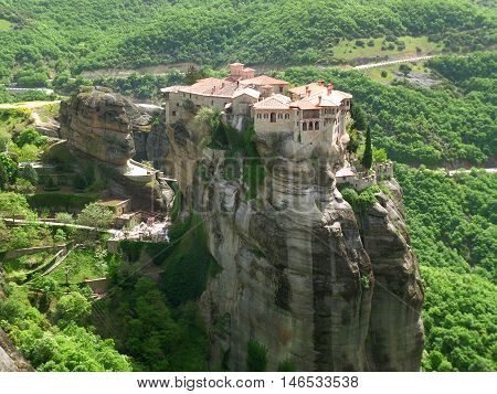 Breathtaking View of Hilltop Meteora Monastery in Greece