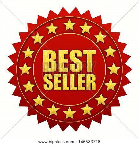 Bestseller warranty red and gold label , 3d illustration