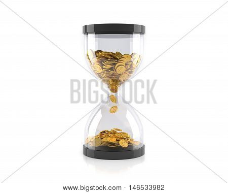 Hourglass with golden coins, Time is money concept. 3D illustration