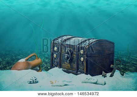 Beautiful Opened Empty Old Wooden Treasure Chest Submerged Underwater World With Anchor, Amphora And