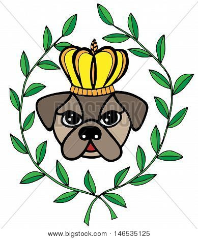 Colorful head dog with crone and leaves. For tattoo card invitation posters texture backgrounds placards banners.