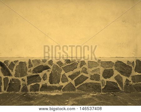 Wall With Stones Finish Sepia