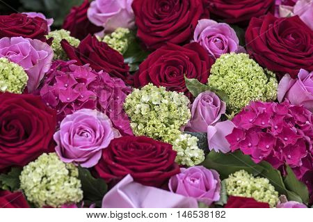 Bouquet with red, White and  pink roses