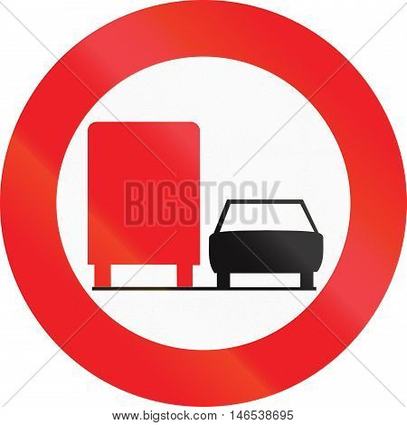 Belgian Regulatory Road Sign - No Overtaking For Trucks