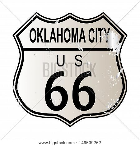 Oklahoma City Route 66 traffic sign over a white background and the legend ROUTE US 66
