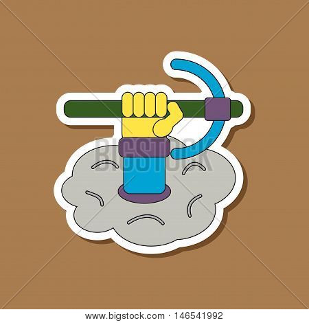paper sticker on stylish background of hammer in hand avalanche