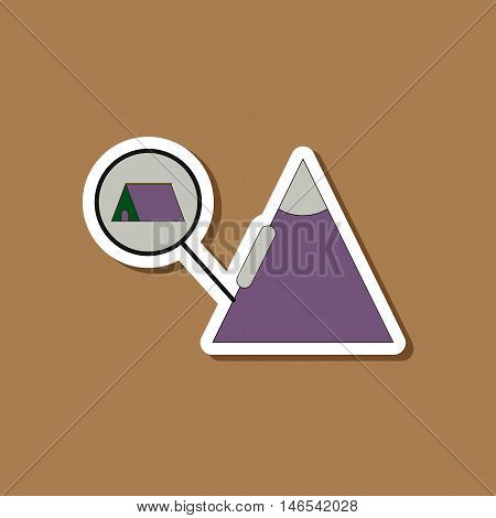 paper sticker on stylish background of tent tourists snow avalanche