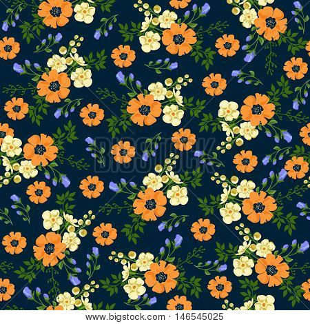 Seamless pattern in small flower. Romantic flower print. Ditsy floral. Floral seamless pattern. Vector Illustration
