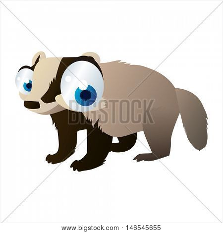 vector cute cool colorful cartoon animal drawing of forest badger