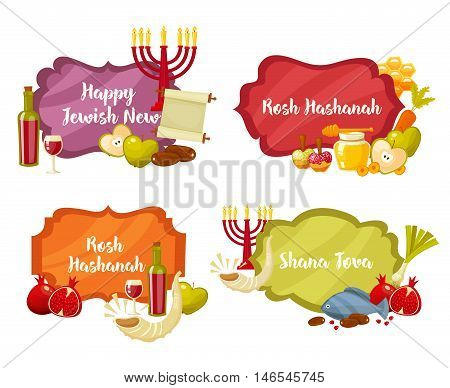 Rosh Hashanah, Shana Tova or Jewish New year cartoon flat vector frames and lables set.Traditional symbols of Jewish new year holiday Rosh Hashanah