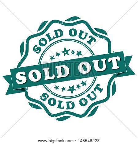 Sold out - grunge green sticker / label. Print colors used