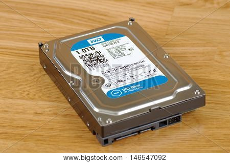 SARANSK, RUSSIA - SEPTEMBER 10, 2016: Western Digital HDD on wooden background closeup. Selective focus.