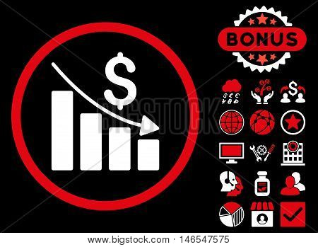 Recession Chart icon with bonus. Vector illustration style is flat iconic bicolor symbols, red and white colors, black background.
