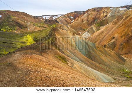 Landmannalaugar Colorful  Mountains In Iceland, Summer Time