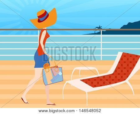 Walking on A Cruise Ship Deck-Woman walking on a cruise ship deck ready to sit and relax in a deck chair to read