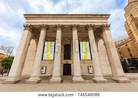MANCHESTER, UK - AUGUST 9: Manchester Central Library is the headquarters of the city's library and information service in Manchester, England on August, 9, 2015.