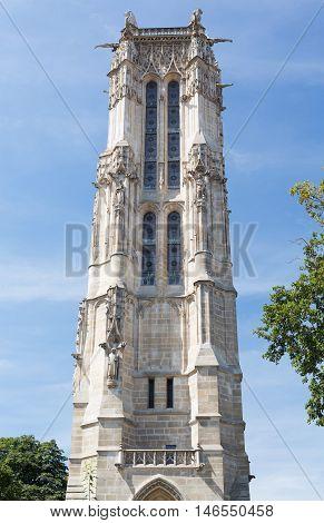 The Saint-Jacques Tower near the Hôtel de Ville in the city of Paris